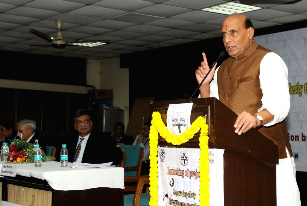 """Union Home Minister Rajnath Singh addresses at the launch of the project """"Empowering elderly through young generation"""", in New Delhi on Jan 17, 2016."""
