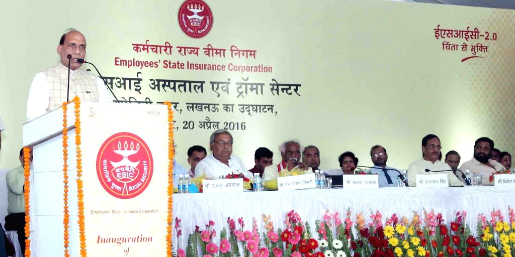 Union Home Minister Rajnath Singh addresses at the inauguration of a ESIC Hospital and Trauma Centre, in Lucknow on April 20, 2016. Also seen Union MoS Labour and Employment Bandaru ... - Rajnath Singh