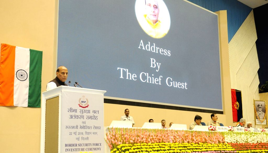 Union Home Minister Rajnath Singh addresses at the Investiture Ceremony of Border Security Force (BSF), in New Delhi on May 22, 2018. - Rajnath Singh