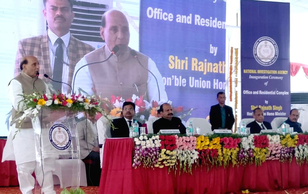 Union Home Minister Rajnath Singh addresses at the inauguration of office and residential complex, at the National Investigation Agency (NIA), in Hyderabad, on March 1, 2019. - Rajnath Singh