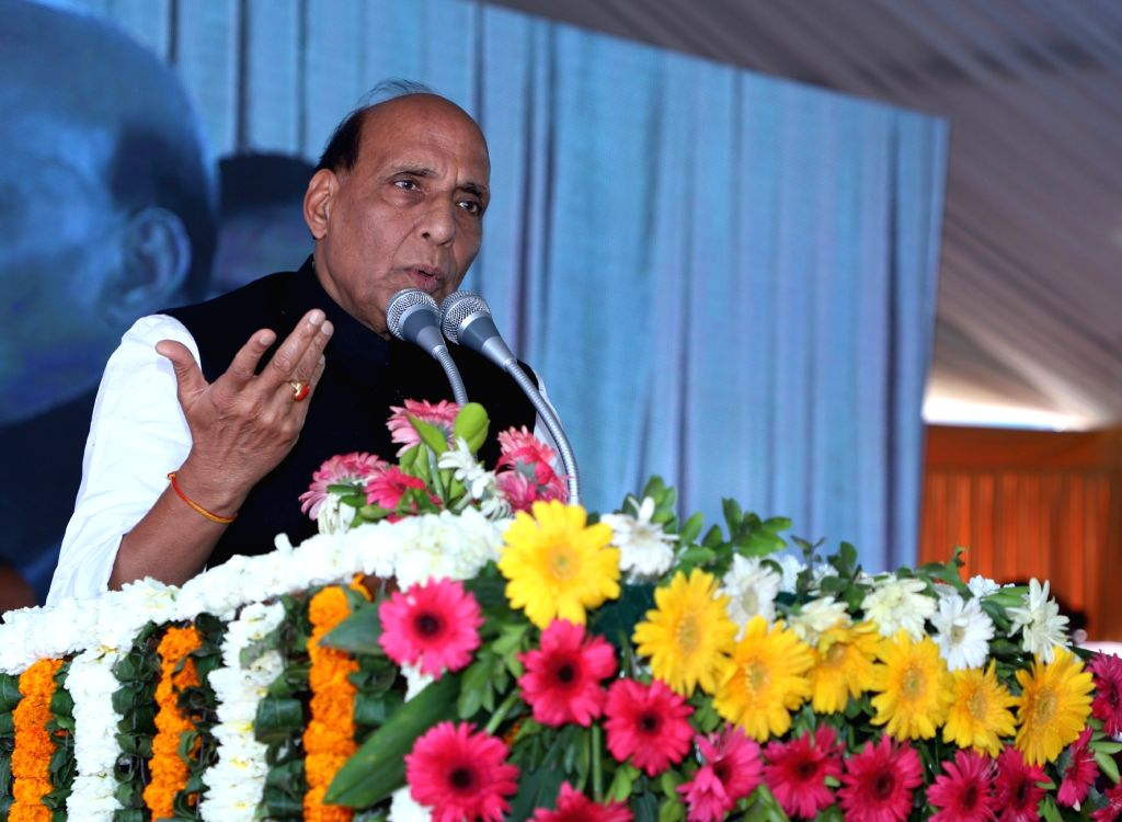 Union Home Minister Rajnath Singh addresses at the foundation stone laying ceremony of MCD School at Okhla Phase-1, in New Delhi on March 6, 2019. - Rajnath Singh