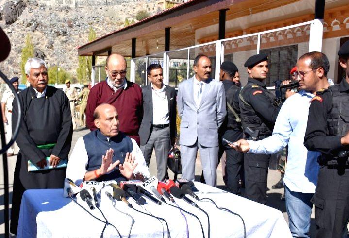 Union Home Minister Rajnath Singh addresses the media persons in Kargil, Jammu and Kashmir on Oct 4, 2016. - Rajnath Singh