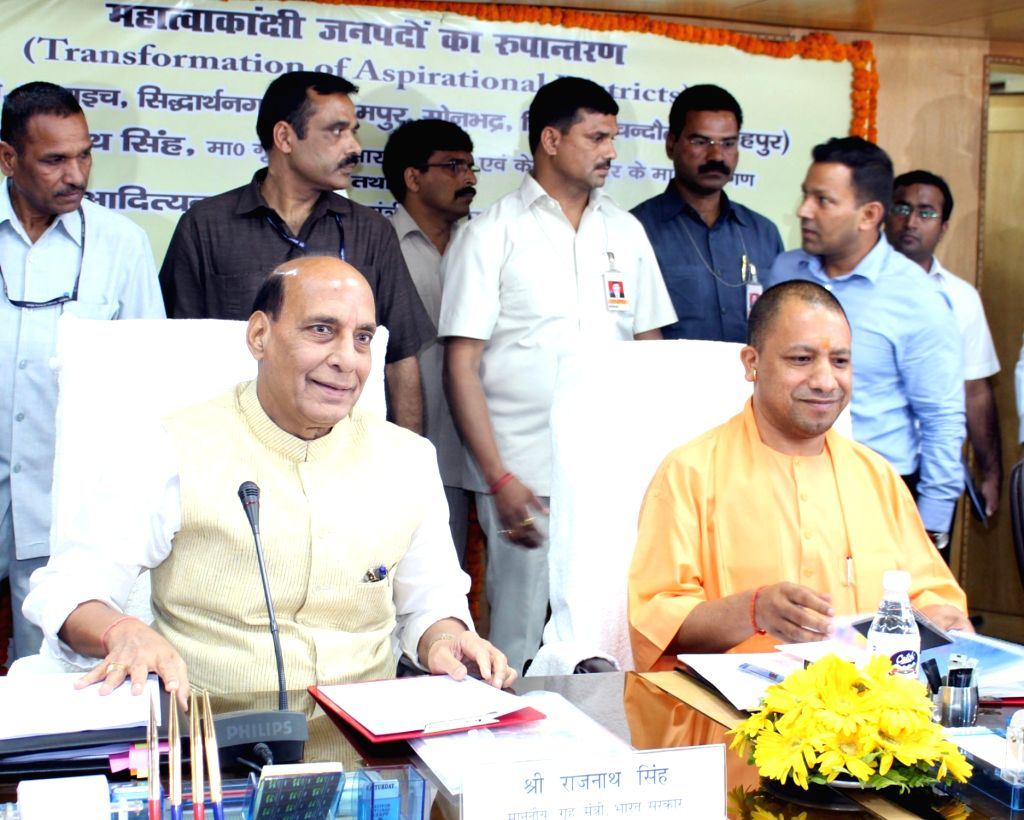 """Union Home Minister Rajnath Singh along with Uttar Pradesh Chief Minister Yogi Adityanath, chairs a meeting of """"Transformation of Aspirational Districts"""" in Lucknow on April 9, 2018. - Rajnath Singh"""