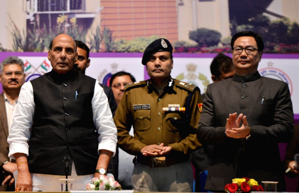 Union Home Minister Rajnath Singh and Union MoS Home Affairs Kiren Rijiju at the inauguration and foundation stone laying ceremony of the various residential and office buildings of CAPFs, ... - Rajnath Singh