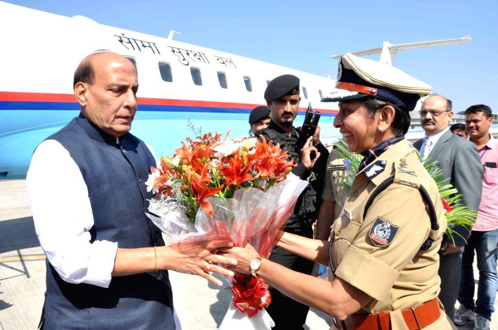 Union Home Minister Rajnath Singh arrives at Rajiv Gandhi International Airport in Shamshabad about 20 kilometres south of Hyderabad on Nov 25, 2016. - Rajnath Singh