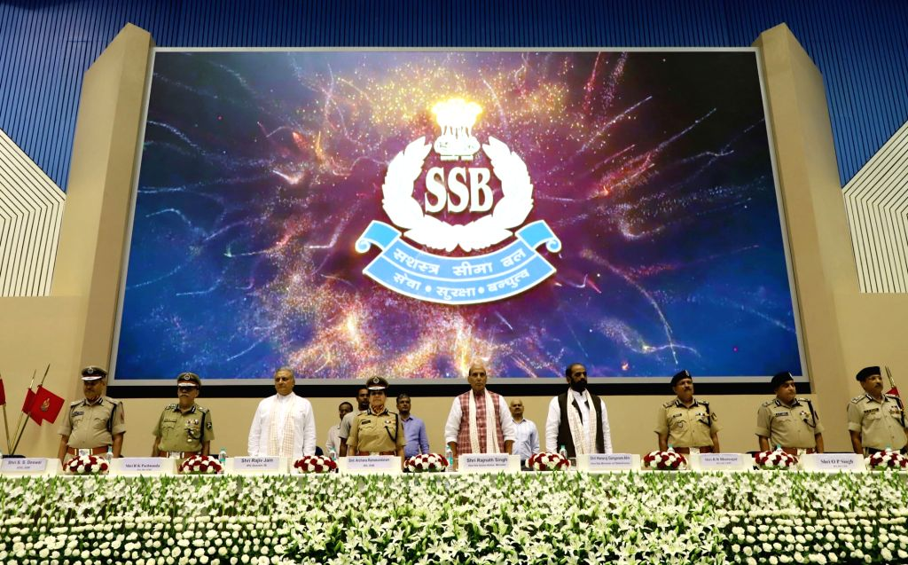 Union Home Minister Rajnath Singh at a function to operationalise the New Intelligence Set-up of the Sashastra Seema Bal (SSB), in New Delhi on Sept 18, 2017. Also seen MoS Home Affairs ... - Rajnath Singh and Rajiv Jain