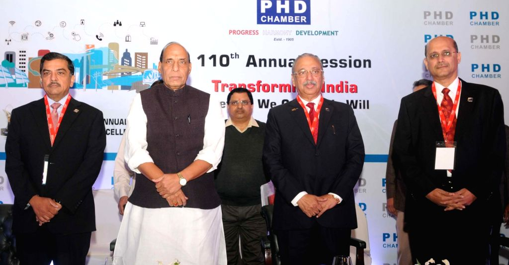 Union Home Minister Rajnath Singh at the inauguration of the 110th Annual Session of the PHD Chamber and PHD Annual Awards for Excellence – 2015 function, in New Delhi on November 28, ... - Rajnath Singh