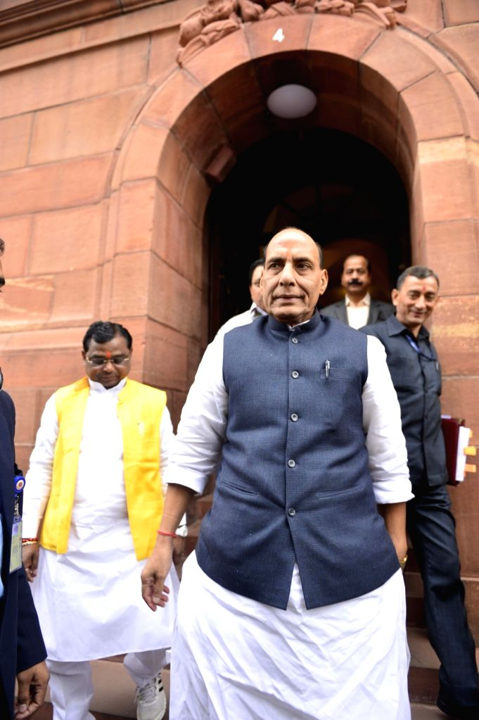 Union Home Minister Rajnath Singh at the Parliament in New Delhi, on Dec 9, 2015. - Rajnath Singh