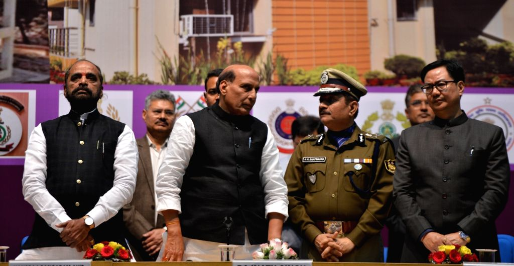 Union Home Minister Rajnath Singh at the inauguration and foundation stone laying ceremony of the various residential and office buildings of CAPFs, CPOs and Delhi Police, in New Delhi, on ... - Rajnath Singh, Hansraj Gangaram Ahir and Kiren Rijiju
