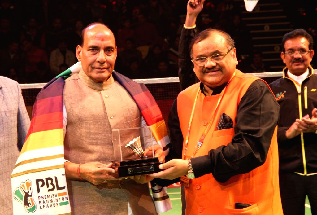 Union Home Minister Rajnath Singh being presented a memento during the final day of the Premier Badminton League, in New Delhi on Jan 17, 2016.
