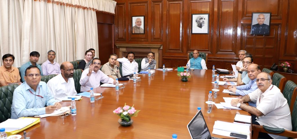 Union Home Minister Rajnath Singh chairs a meeting to review measures to check cyber crime in the financial sector in New Delhi on Sept 19, 2017. - Rajnath Singh