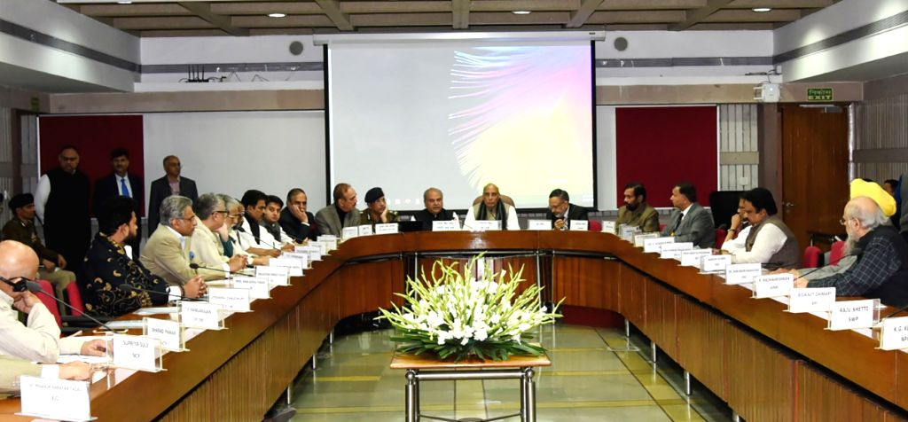Union Home Minister, Rajnath Singh chairs a meeting of floor leaders of political parties in both houses of Parliament, to hold consultations in the wake of the Pulwama militant attack, in ... - Rajnath Singh