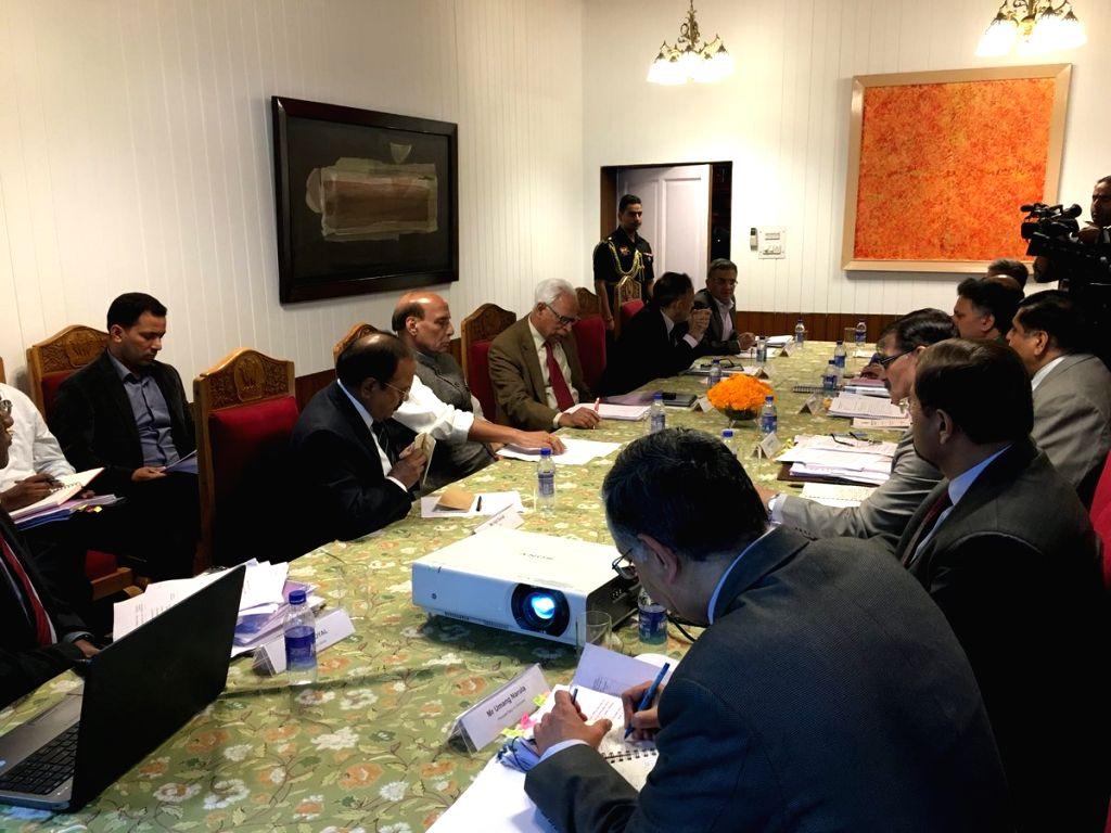 Union Home Minister Rajnath Singh chairs a high level review meeting, in Srinagar on July 5, 2018. - Rajnath Singh