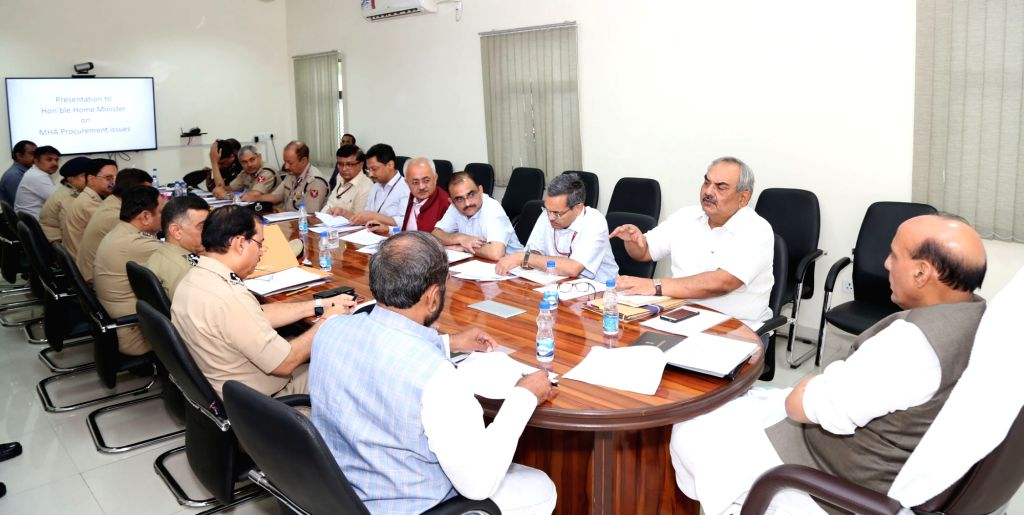 Union Home Minister Rajnath Singh chairs a review meeting of the Police Modernisation Division of the Ministry of Home Affairs (MHA) in New Delhi on July 6, 2017. Also seen Minister of ... - Rajnath Singh