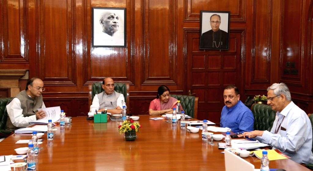 Union Home Minister Rajnath Singh chairs the Group of Ministers meeting on the issues related to Lokpal Bill, in New Delhi on May 2, 2017. Also seen Union External Affairs Minister Sushma ... - Rajnath Singh, Sushma Swaraj, Arun Jaitley and Jitendra Singh