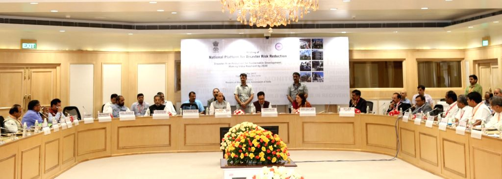 Union Home Minister Rajnath Singh chairs the Ministerial Session during the second meeting of the National Platform for Disaster Risk Reduction (NPDRR) in New Delhi on May 15, 2017. - Rajnath Singh