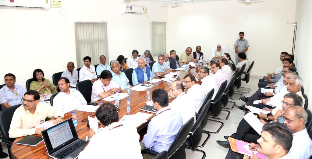 Union Home Minister Rajnath Singh chairs the review meeting on MHA expenditure for the first quarter of 2017-18 FY in New Delhi on July 7, 2017. Also seen Minister of State for Home ... - Rajnath Singh