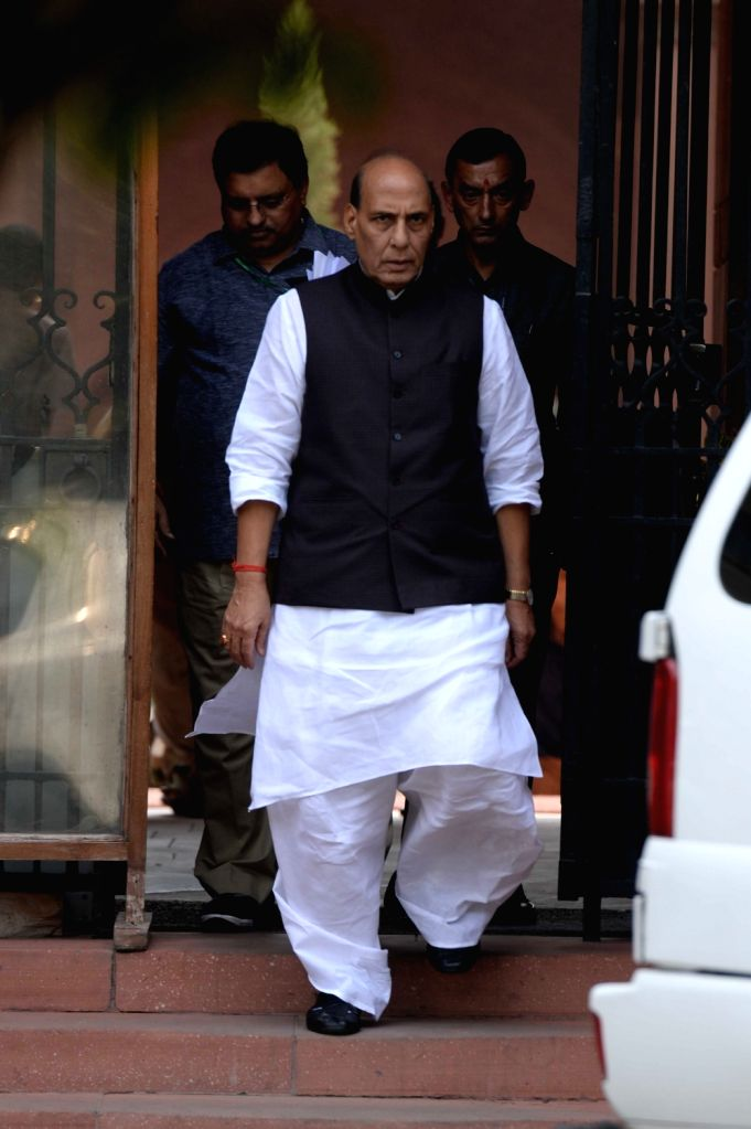 Union Home Minister Rajnath Singh comes out after Cabinet Meeting at South Block in New Delhi on Sept 28, 2016. - Rajnath Singh