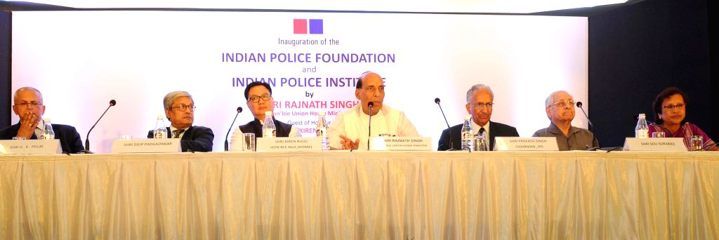 Union Home Minister Rajnath Singh during inauguration of the Indian Police Foundation and the Indian Police Institute, in New Delhi on Oct 21, 2015. Also seen Union Minister of State for ...