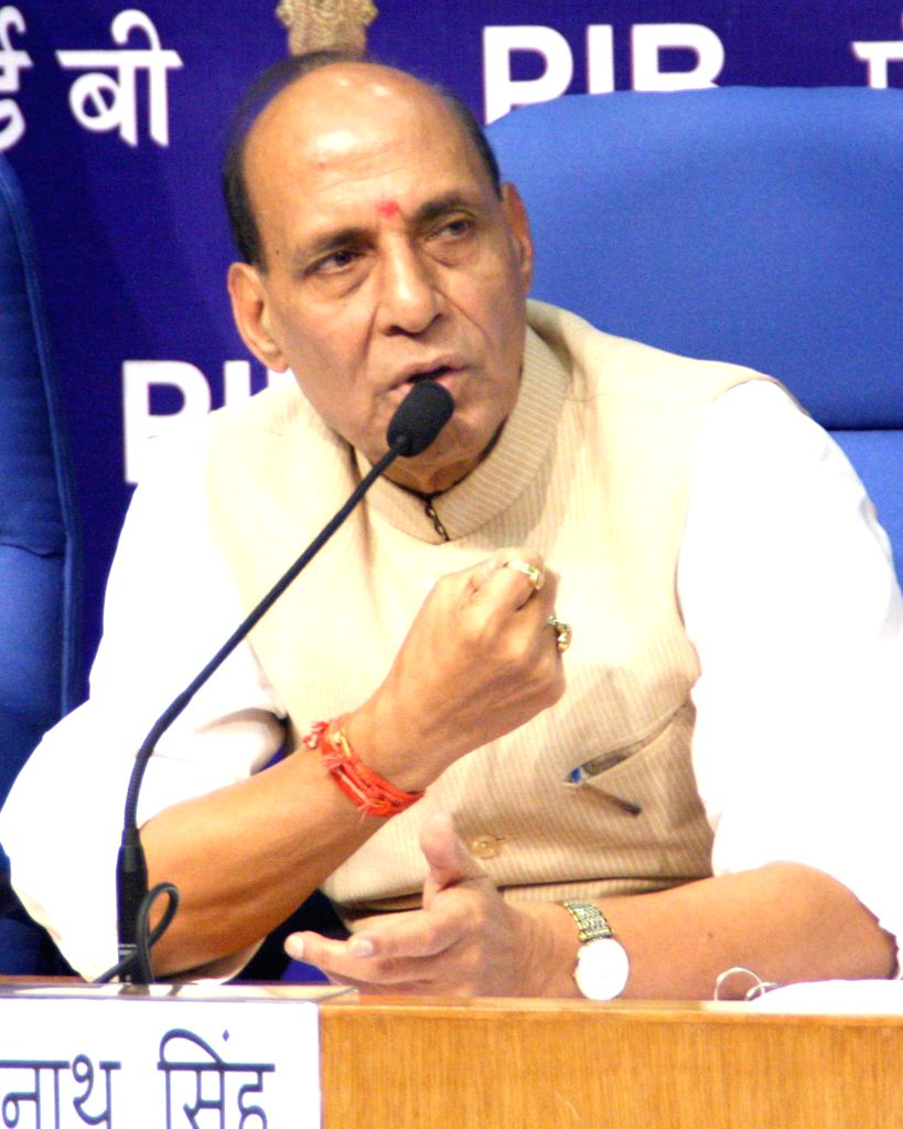 Union Home Minister Rajnath Singh during a press conference regarding NDA Government's achievements in the first 100 days, in New Delhi on Sept 12, 2014.