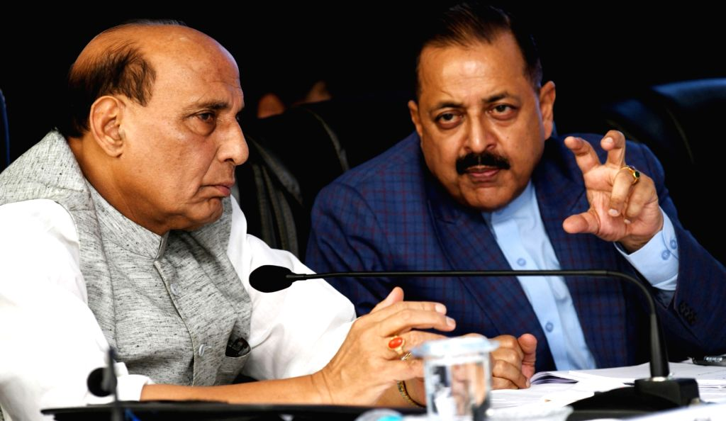 Union Home Minister Rajnath Singh in a conversation with Union MoS North Eastern Region Jitendra Singh at the 67th Plenary Session of the North Eastern Council (NEC), ... - Rajnath Singh