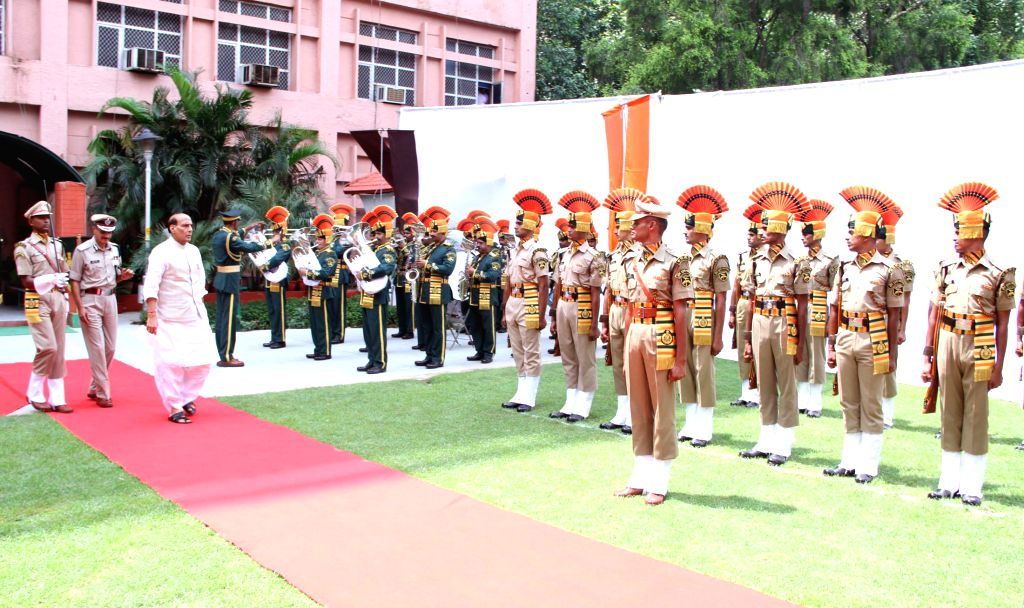 Union Home Minister Rajnath Singh inspects Guard of Honour at the Indo-Tibetan Border Police (ITBP) headquarters in New Delhi on September 08, 2014.
