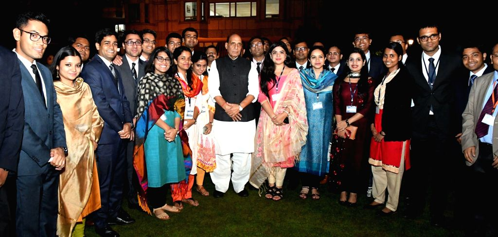 Union Home Minister Rajnath Singh interacts with IAS probationers at the Lal Bahadur Shastri National Academy of Administration (LBSNAA), at Mussoorie, in Uttarakhand on Sept 28, 2017. - Rajnath Singh