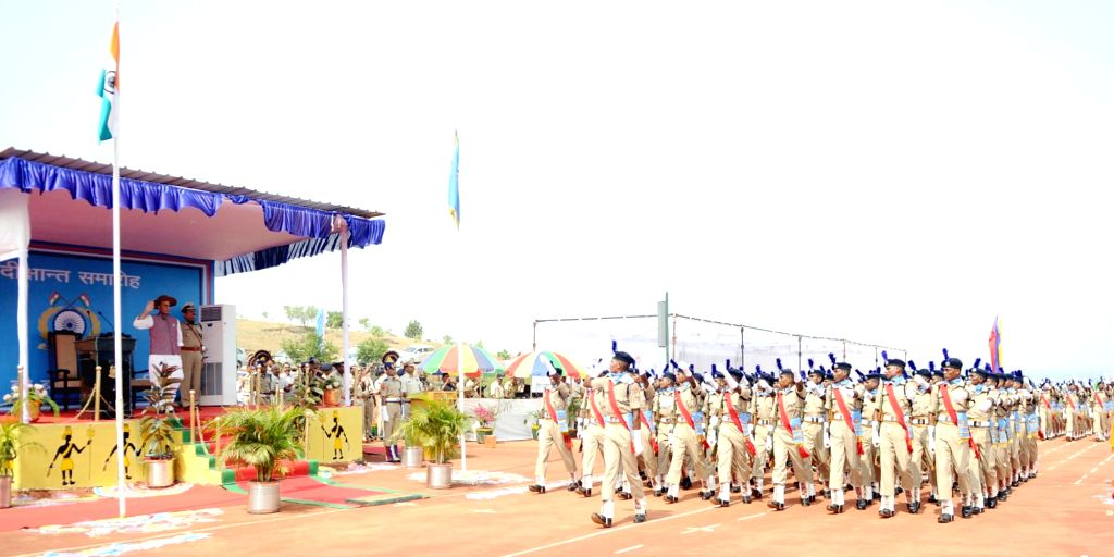 Union Home Minister Rajnath Singh takes salute during the Passing Out Parade of the 'Bastariya Battalion' of CRPF in Ambikapur, Chhattisgarh on May 21, 2018. - Rajnath Singh