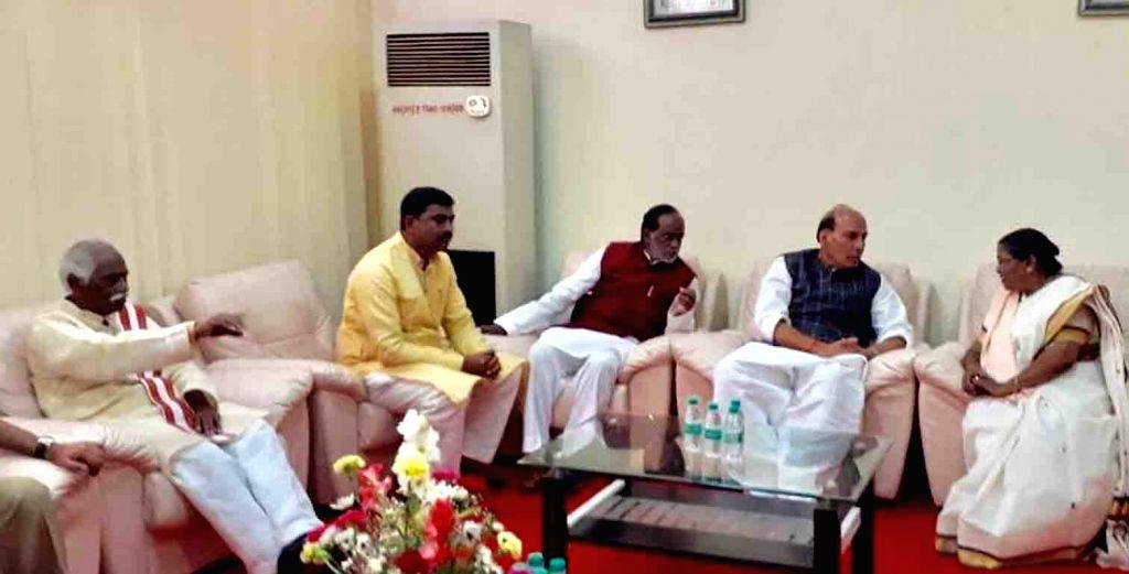 Union Home Minister Rajnath Singh, Telangana BJP president K. Laxman, BJP MP Bandaru Dattatraya and BJP General-Secretary Muralidhar Rao during a meeting on the occasion of 'Liberation ... - Rajnath Singh and General-Secretary Muralidhar Rao