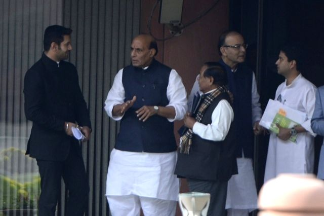 Union Home Minister Rajnath Singh, Union Minister for Finance, Corporate Affairs, and Information and Broadcasting Arun Jaitley and MPs Chirag Paswan and Jyotiraditya Scindia after the all ... - Rajnath Singh and Arun Jaitley