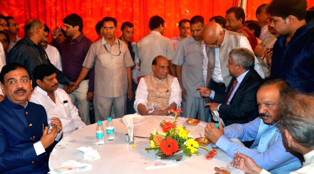 Union Home Minister Rajnath Singh, Union Minister for Science and Earth Sciences Harsh Vardhan, advocate Ujjwal Nikam and other dignitaries during the wedding of BJP leader Lalji Tandon's ... - Rajnath Singh