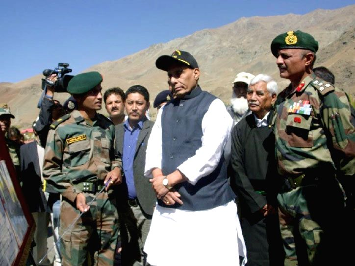 Union Home Minister Rajnath Singh visits a forward location at Drass in Jammu and Kashmir on Oct 4, 2016. - Rajnath Singh