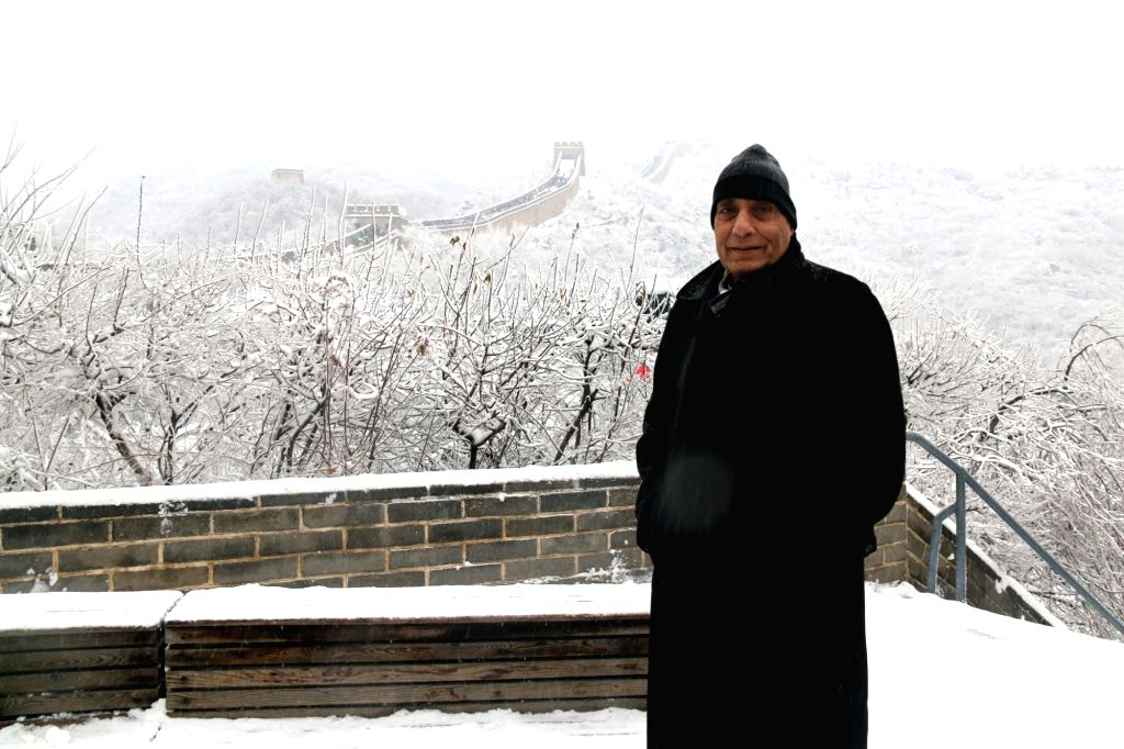 Union Home Minister Rajnath Singh visits the Great Wall of China, in China on Nov 21, 2015.