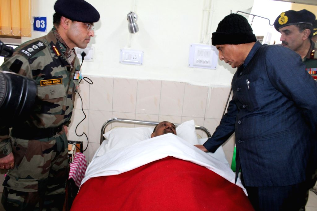 Union Home Minister Rajnath Singh visits the Army Hospital in Srinagar to inquire about the health of bravehearts who were injured in Pulwama terror attack; on Feb 15, 2019. - Rajnath Singh