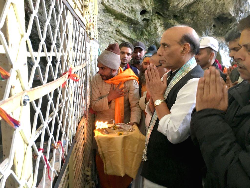 Union Home Minister Rajnath Singh visits the Shri Amarnathji holy cave, in Jammu and Kashmir on July 2, 2016. - Rajnath Singh