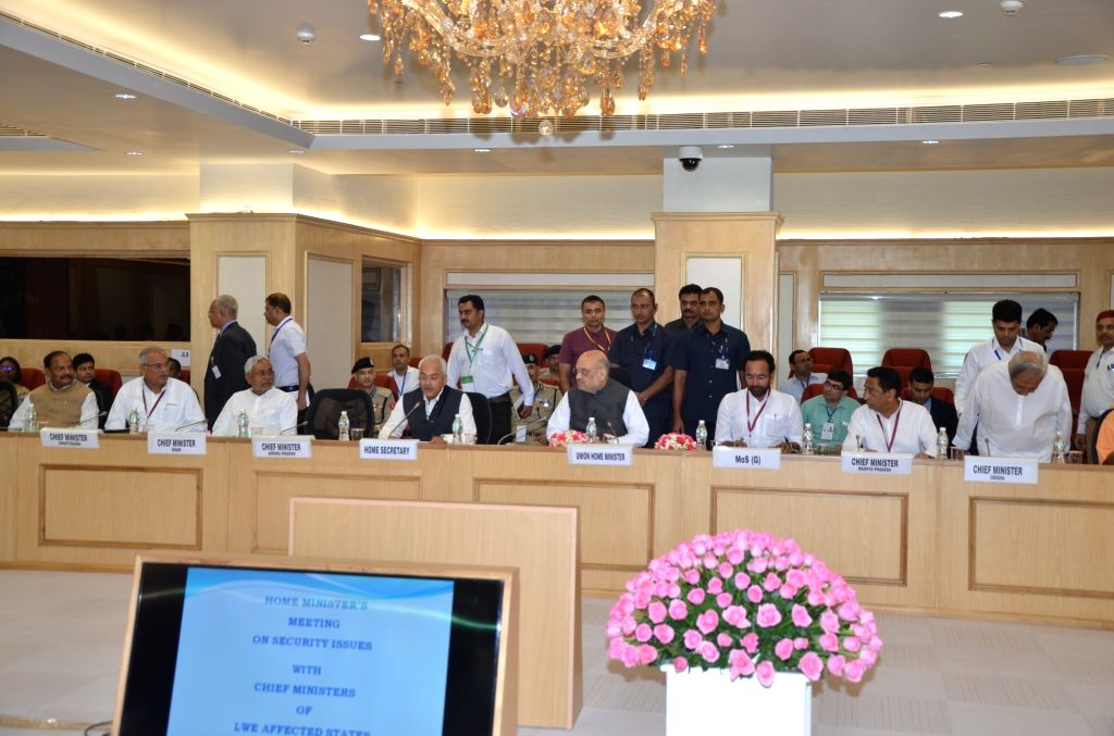 Union Home Ministers Amit Shah chairs hairs a meeting of all Chief Ministers of Maoist-affected states to review the operations against the insurgent groups and initiatives taken over the ... - Raghubar Das, Amit Shah, Nitish Kumar and Kamal Nath