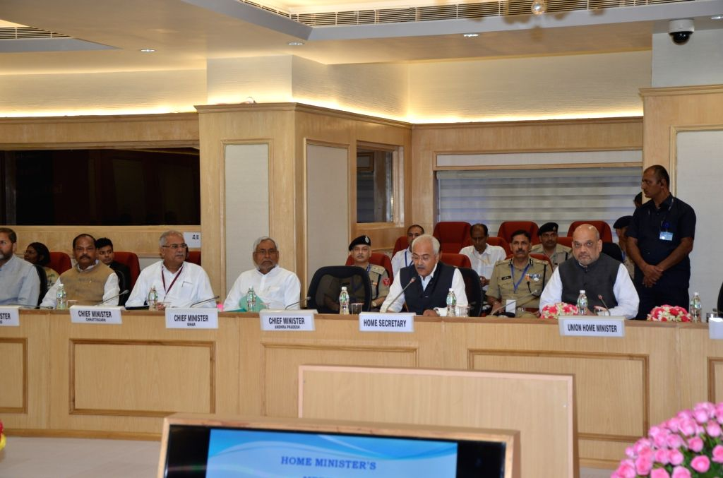 Union Home Ministers Amit Shah chairs hairs a meeting of all Chief Ministers of Maoist-affected states to review the operations against the insurgent groups and initiatives taken over the ... - Raghubar Das, Amit Shah and Nitish Kumar
