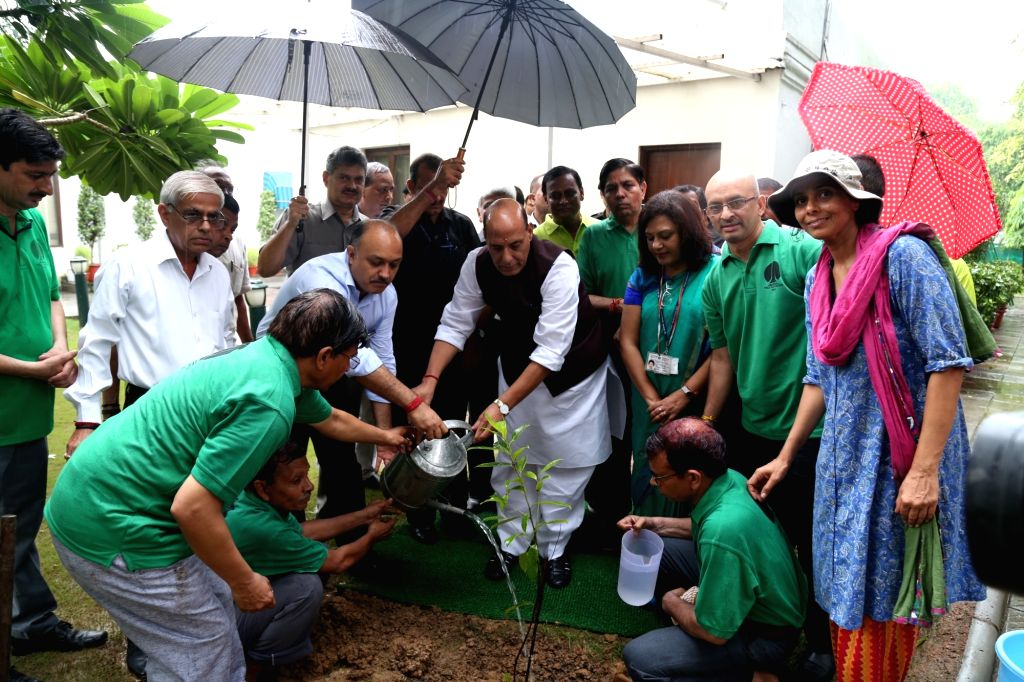 Union Home Minster Rajnath Singh plants a sapling at his official residence in New Delhi on July 30, 2016.