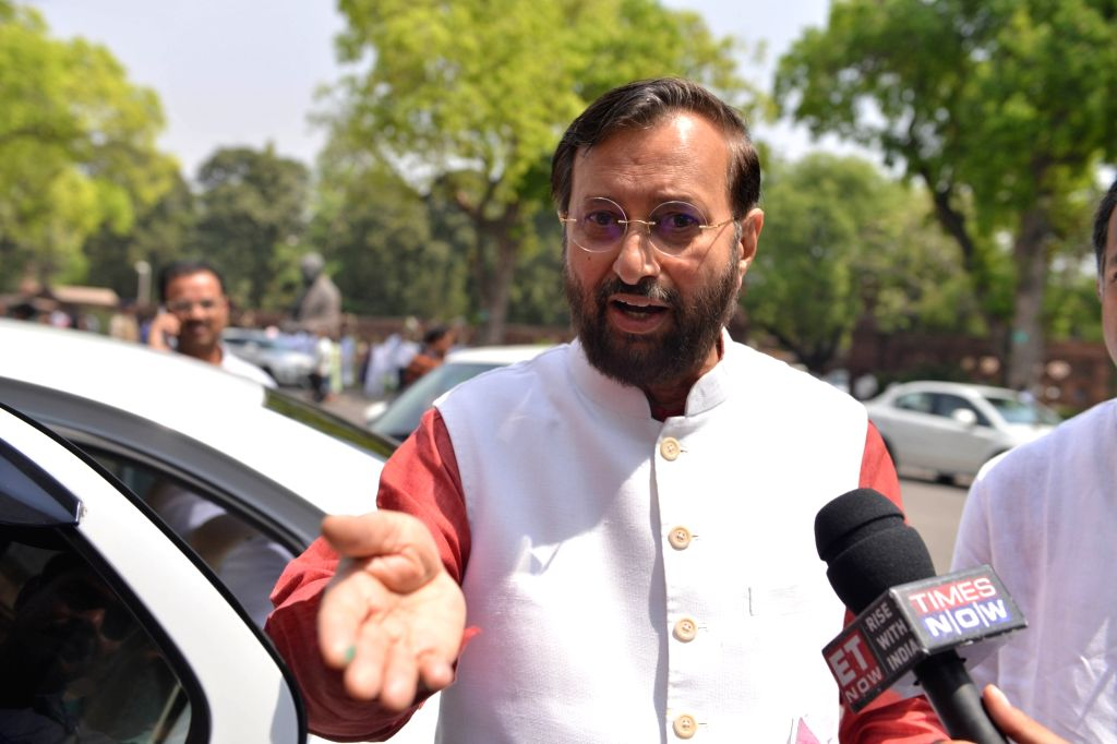 Union HRD Minister and BJP MP Prakash Javadekar talks to the press at Parliament in New Delhi on April 4, 2018.