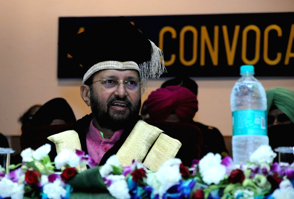 Union HRD Minister Prakash Javadekar during the 44th Annual Convocation of Guru Nanak Dev University in Amritsar on May 31, 2018. - Prakash Javadekar and Nanak Dev University