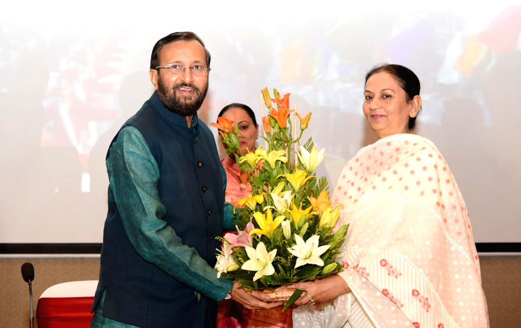 Union HRD Minister Prakash Javadekar with Punjab Education Minister Aruna Chaudhary during a workshop on innovative and best practices in school education in Chandigarh, on June 2, 2017. - Prakash Javadekar and Aruna Chaudhary
