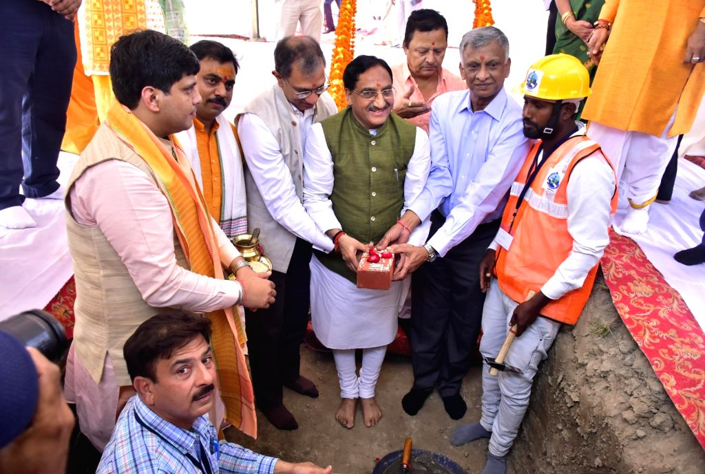 Union HRD Minister Ramesh Pokhriyal Nishank during the Ground-breaking ceremony of Indian Institute of Management (IIM) at Manawala near Amritsar, on Oct 7, 2019. - Ramesh Pokhriyal Nishank