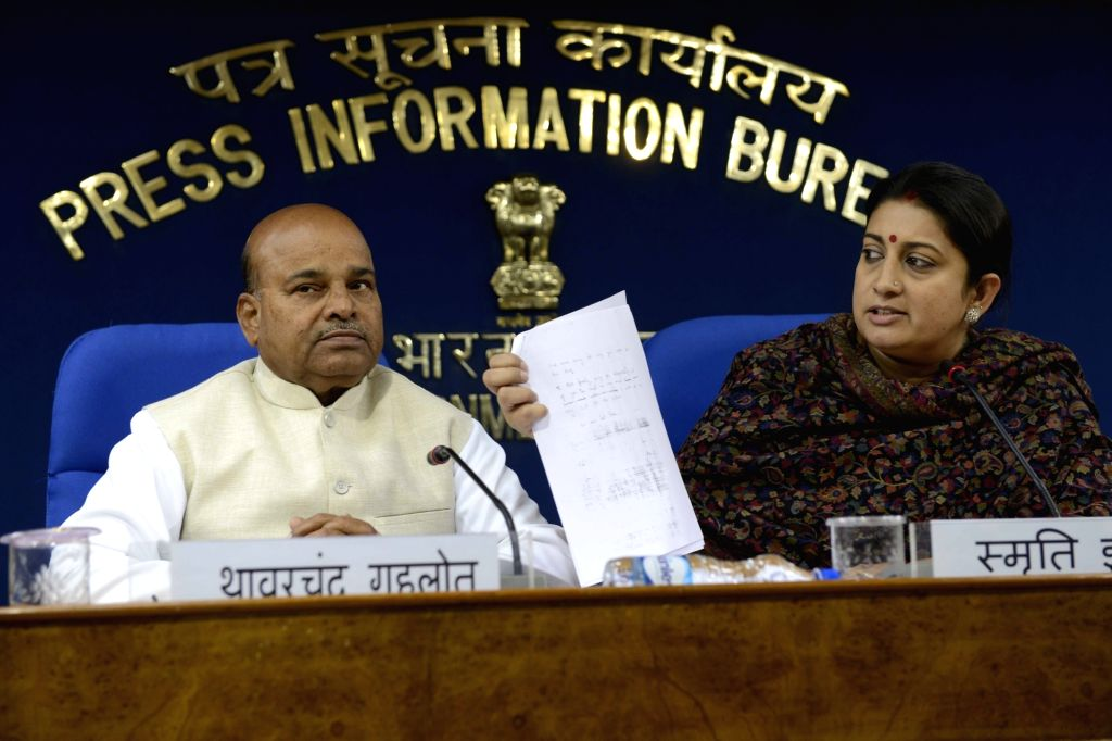 Union HRD Minister Smriti Irani and Union Minister for Social Justice and Empowerment Thaawar Chand Gehlot address a press conference regarding the suicide of Rohith Vemula, a Dalit ...