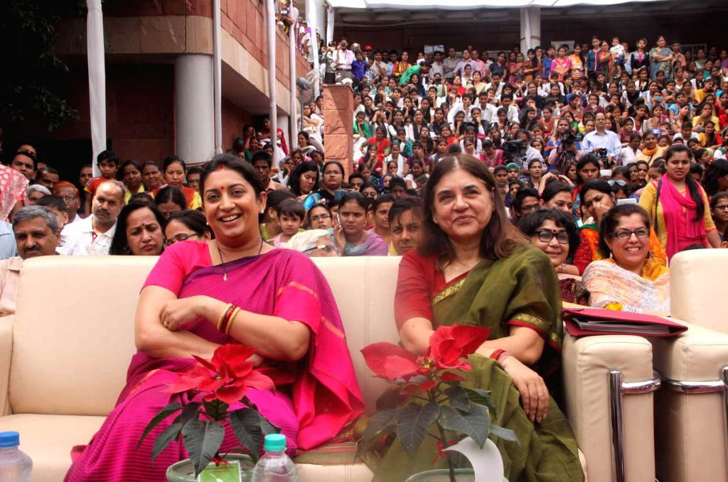 Union HRD Minister Smriti Irani and Union Women and Child Development Minister Maneka Gandhi during 54th Foundation Day NCERT in New Delhi on Sept 1, 2014. - Smriti Irani and Maneka Gandhi