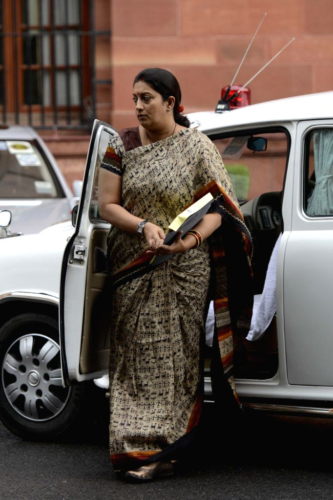 Union HRD Minister Smriti Irani arrives to attend a cabinet meeting in New Delhi on Sept 10, 2014.