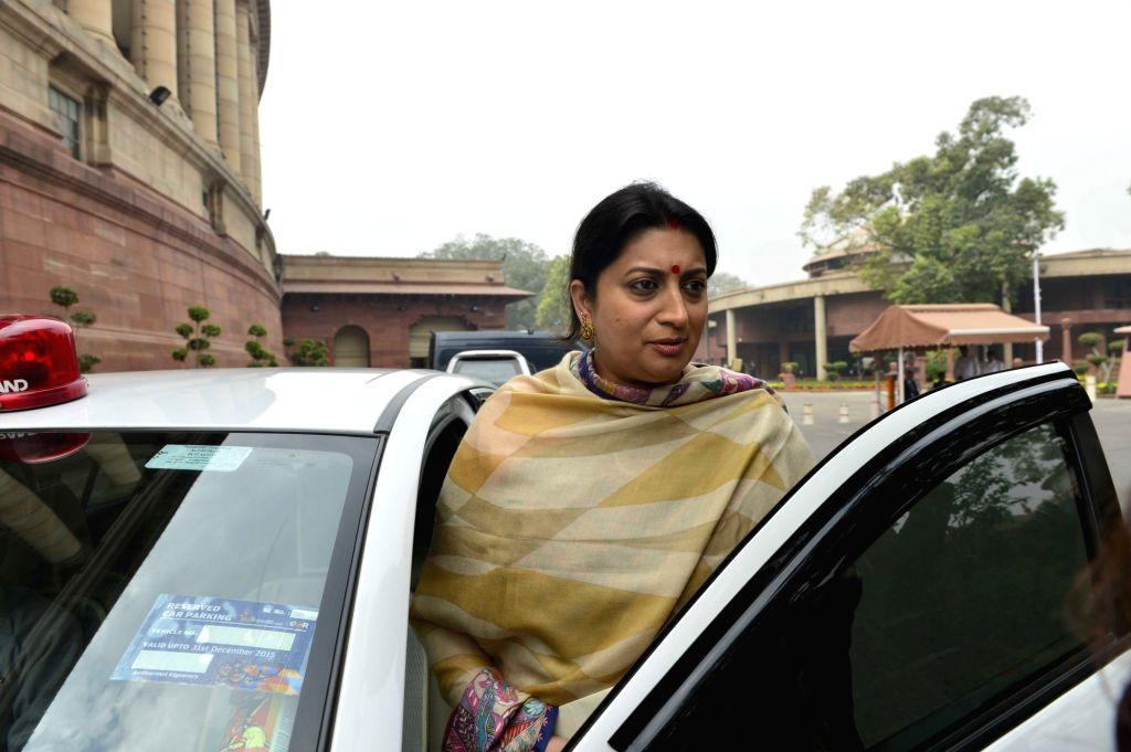 Union HRD Minister Smriti Irani at the Parliament in New Delhi, on Dec 9, 2015. - Smriti Irani