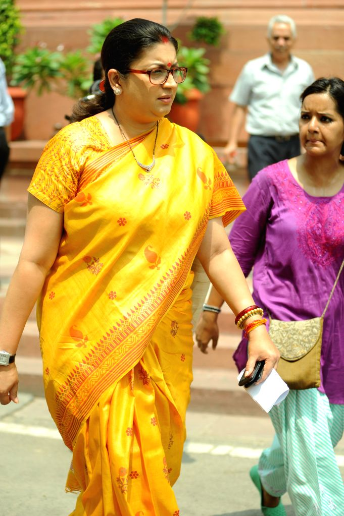 Union HRD Minister Smriti Z Irani at the Parliament in New Delhi on July 15, 2014. - Smriti Z Irani