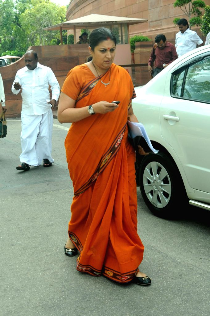 Union HRD Minister Smriti Z Irani at the Parliament in New Delhi on Aug 14, 2014. - Smriti Z Irani