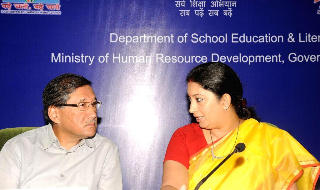 Union HRD Minister Smriti Z Irani during inauguration of the `Conference of State Education Secretaries` at Vigyan Bhawan in New Delhi on Aug 26, 2014. - Smriti Z Irani