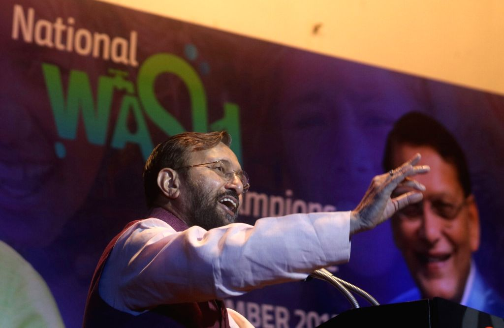Union Human Resource Development (HRD) Minister Prakash Javadekar addresses during the 'National Wash Champions Conclave' in New Delhi on Sept 19, 2017. - Prakash Javadekar